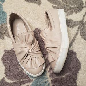 MIA neutral tan slip on sneakers bow detail sz 8.5
